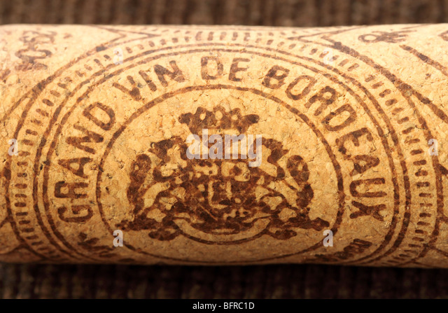 Grand vin de Bordeaux  wine cork stopper - Stock Image