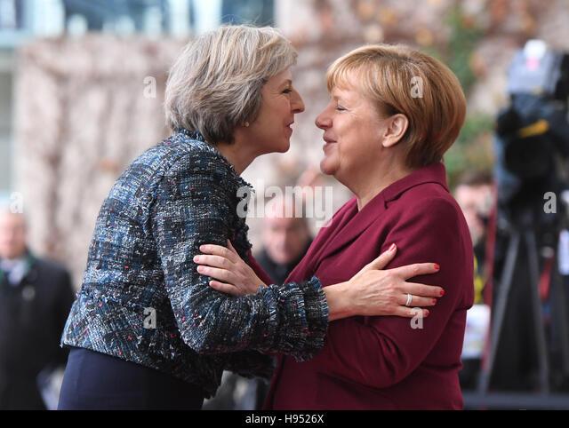 Berlin, Germany. 18th Nov, 2016. German Chancellor Angela Merkel (CDU) welcomes British Prime Minister Theresa May - Stock Image