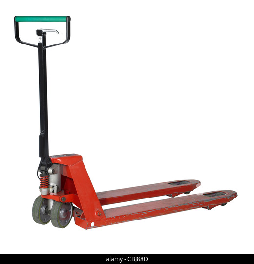 pallet jack in white back with clipping path - Stock Image