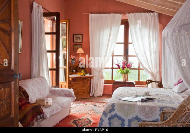 Beautiful bedroom in villa in Spain - Stock Image