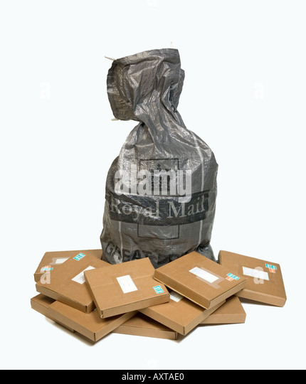 Full Royal Mail grey post bag with parcels - Stock Image