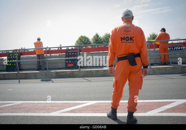 Track marshalls at Silverstone - Stock Image