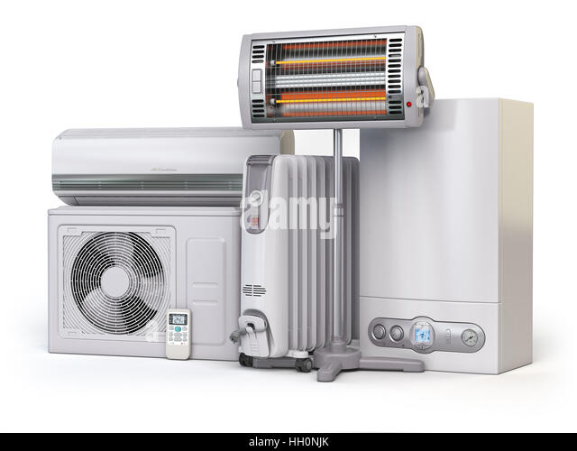 Heating devices and climate equipment.  Heating household appliances. Gas boiler, air conditioner, oil and radiant - Stock Image