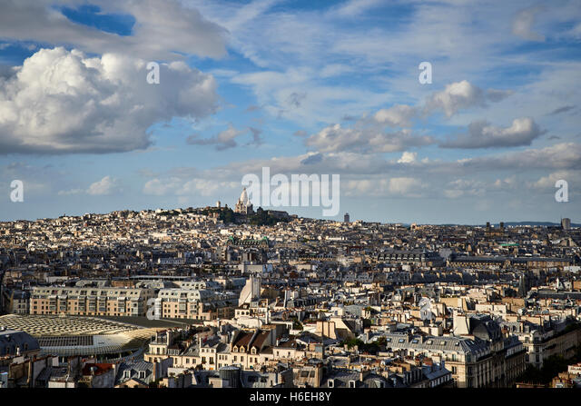 View of Paris and the Sacre Couer Basilica - Stock Image