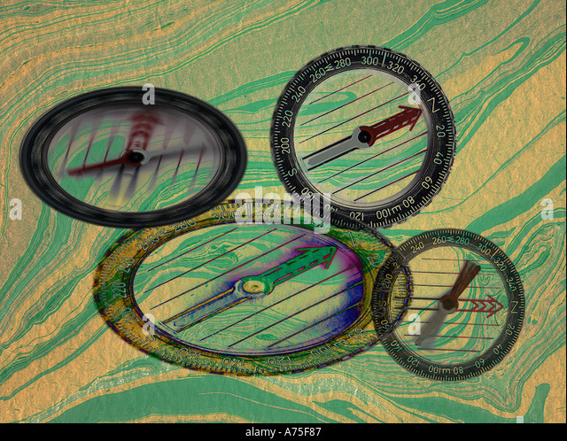Compasses and map - Stock Image