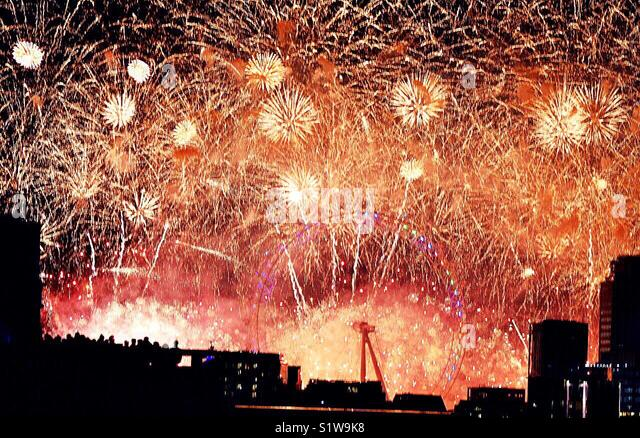 Fireworks Central London New Years Eve - Stock Image