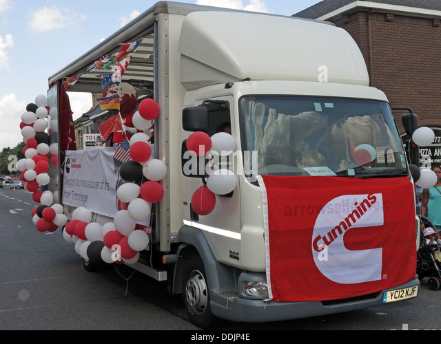 Decorated Cummins float from Huddersfield Carnival 2013 African Caribbean parade street party - Stock Image