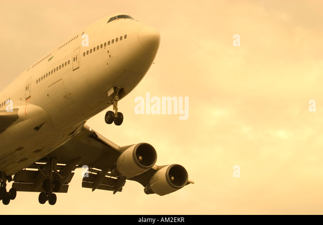 Commercial airliner and copy space - Stock Image