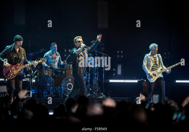 The Edge (L), Larry Mullen Jr., Bono and Adam Clayton of U2 perform at the SSE Hydro as part of their iNNOCENCE - Stock Image