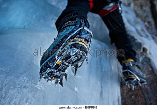USA, Colorado, Hinsdale County, Lake City, Low section of ice climber - Stock Image