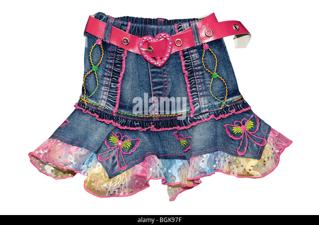 Children's clothing blue girl jeans mini skirt with pink belt isolated on white background - Stock Image