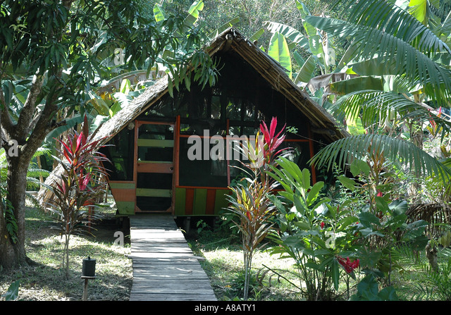 Riverside guest cabin at the Orinoco Delta Lodge, screened against insects, and its privacy guarded by greenery - Stock Image