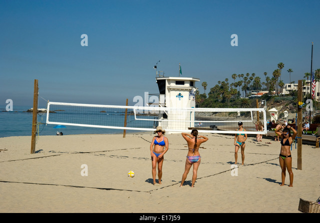 Volleyball courts at Main Beach in Laguna Beach, California - Stock Image