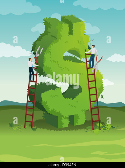 Illustration of cutting cost - Stock Image