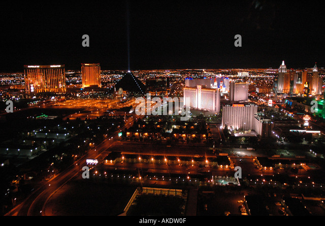 aerial above Las Vegas Nevada Strip at Night Seen from a Helicopter Aerial Photography - Stock Image