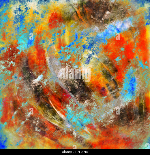 Colorful original abstract painting created in Photoshop - Stock Image