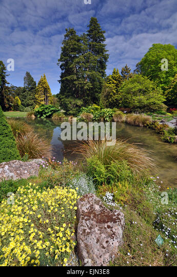Very Merry Vintage Syle Sheffield Garden Walk Pretty: Flowers Water Gardens Rockery Stock Photos & Flowers Water Gardens Rockery Stock Images