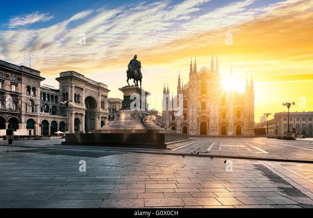Duomo at sunrise, Milan, Italy, Europe. - Stock Image