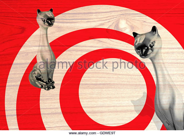 Funky china cool cat and retro circles - Stock Image