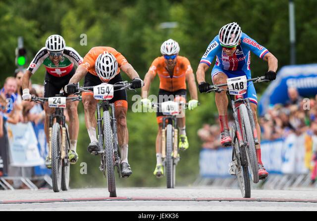 Czech Jaroslav Kulhavy (left)  in action during  the UCI Mountain Bike Marathon World Championships in Singen, Germany, - Stock-Bilder