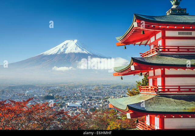 Mt. Fuji, Japan viewed from Chureito Pagoda in the autumn. - Stock Image