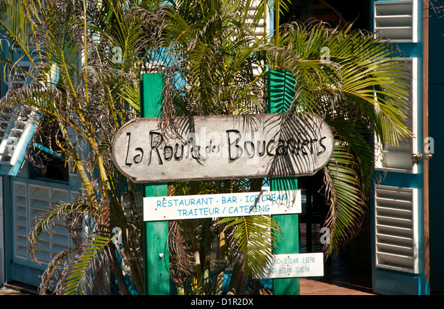 Closeup of restaurant, bar and ice cream sign, Gustavia, Saint-Barthelemy - Stock Image
