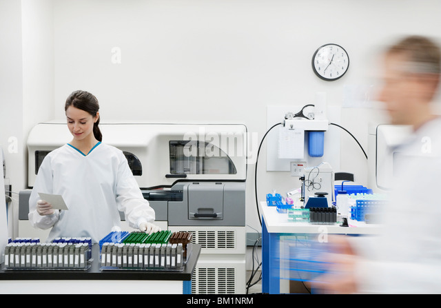 Female doctor examining a report in a laboratory - Stock Image