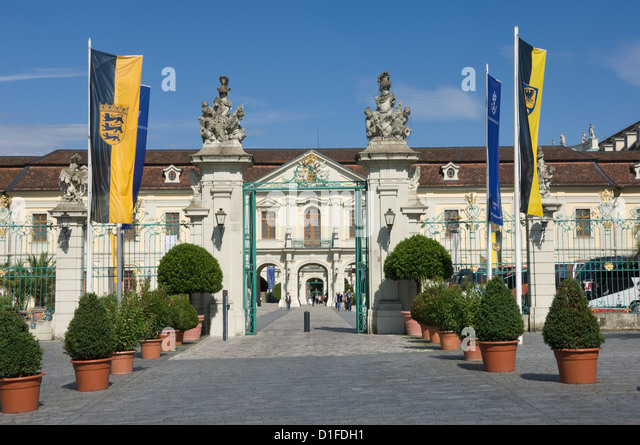 The carraige entrance to the Baroque Residenzschloss, inspired by Versailles Palace, Ludwigsburg, Baden Wurttemberg, - Stock-Bilder