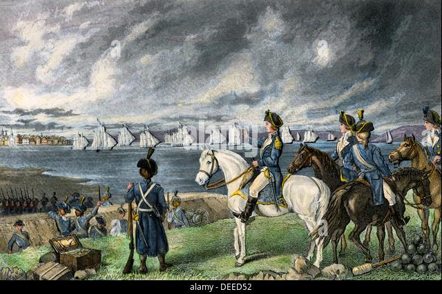 Washington watching evacuation of British troops from Boston, 1776. - Stock Image