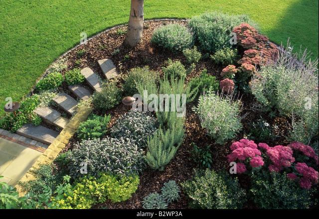 Sloping garden steps stock photos sloping garden steps for Low maintenance garden raised borders