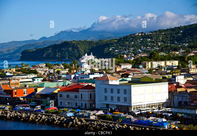 Roseau Dominica city aerial of market and cruise ship of this Eastern Caribbean cruise port - Stock Image
