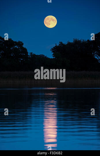 Full Moon Rising over Hickling Broad Norfolk UK - Stock Image