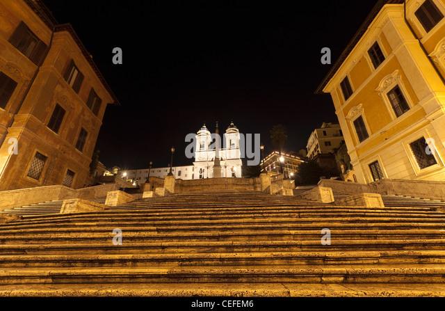 Spanish Steps lit up at night - Stock Image