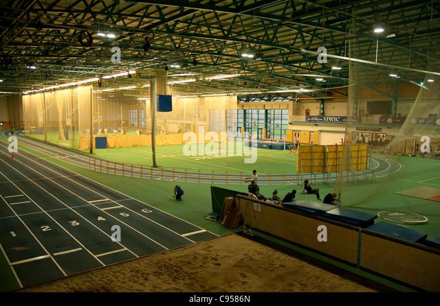 UWIC National Indoor Athletics Centre and academy, Cyncoed Cardiff, Wales UK - Stock Image