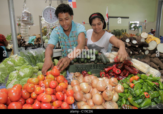 Panama City Panama Ancon Mercado Público Public Market covered farmer's market stall merchant vendor business - Stock Image