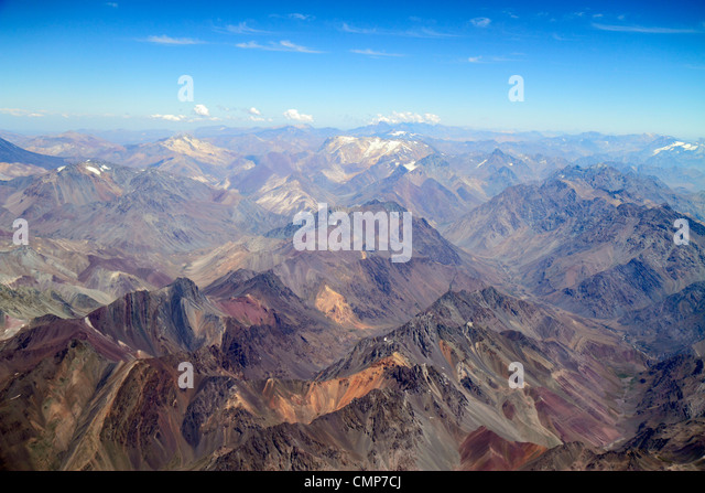 Santiago Chile Andes Mountains LAN Airlines flight to Mendoza window seat view aerial science geography range topography - Stock Image