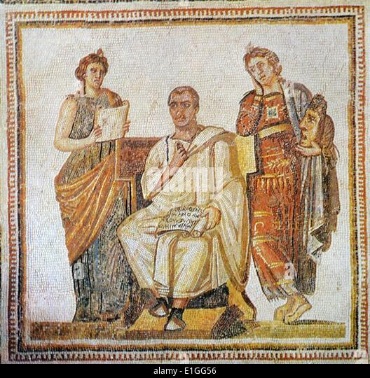 Roman mosaic of Virgil (70 BC -19 BC) Ancient Roman poet of the Augustan period. Dated 1st Century B.C. - Stock Image