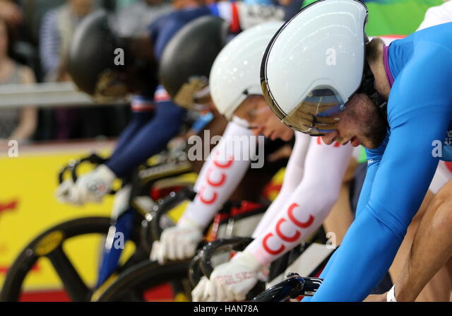 London, UK. 03rd Dec, 2016. Lee Valley VeloPark, London, UK. 3rd December 2016.Revolution Track Series, Champions - Stock Image