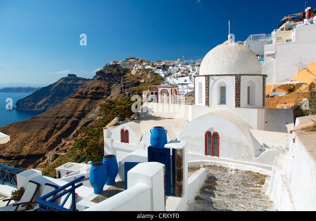 Santorini, Orthodox Church in Fira - Stock Image