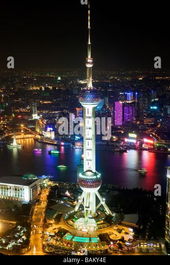 Oriental pearl tower shanghai - Stock Image