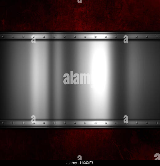 Shiny metal plate on a red grunge background with scratches and stains - Stock Image