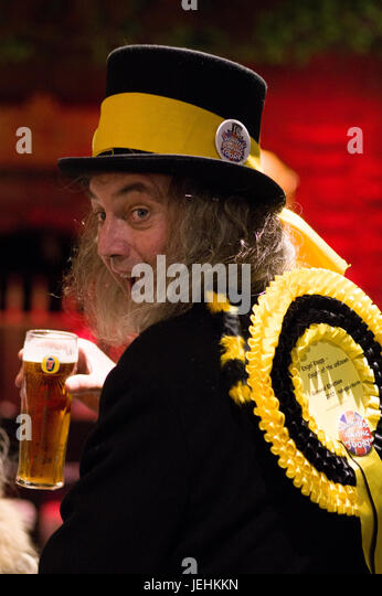 Nigel Knapp the Official Monster Raving Loony Party candidate for Islington in the 2017 election with a pint of - Stock Image