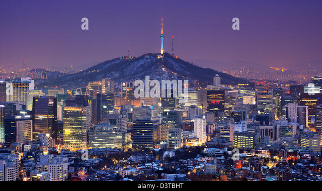 Downtown skyline of Seoul, South Korea with Seoul Tower. - Stock Image