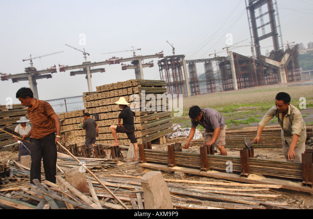 Bamboo trade, Chongqing, China - Stock-Bilder