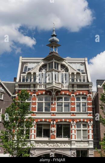 Amsterdam traditional architecture canalside housesAmsterdam, Netherlands - Stock Image