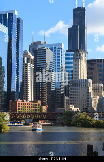 Skyscrapers including Willis Tower, formerly the Sears Tower, in Downtown Chicago by the Chicago River, Chicago, - Stock Image