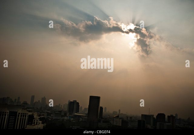 Pollution over Bangkok. - Stock Image