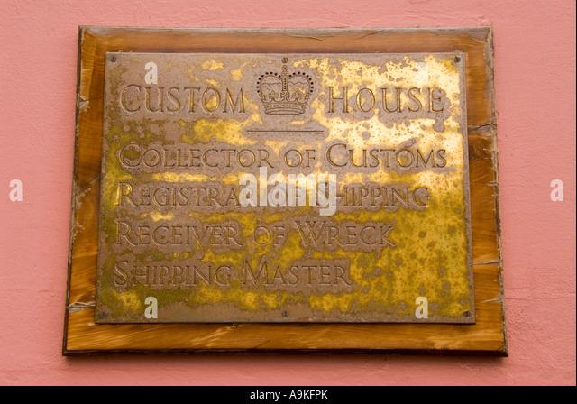 Hamilton Bermuda Custom House sign Receiver of Wrecks odd unusual - Stock Image