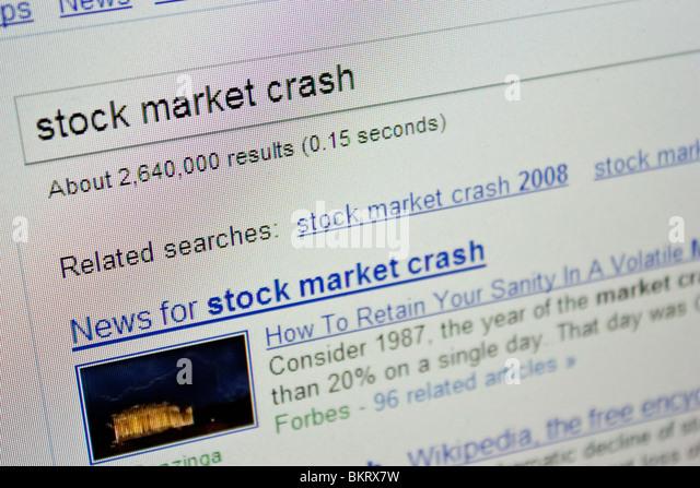 stock market crash news updates screen - Stock Image