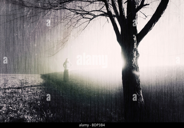 A woman standing in the mist behind a bare tree - Stock Image